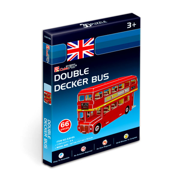 Double Decker busz 3D mini puzzle - 66 darabos